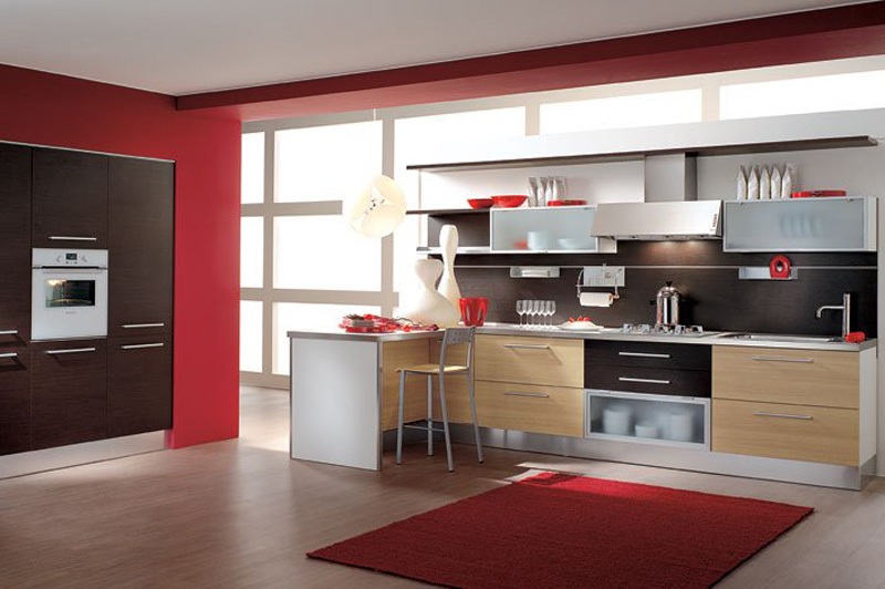 Contemporary-kitchen-design-with-red-accent