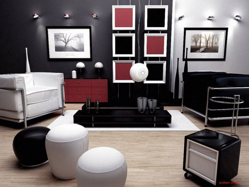 round-ottomans-with-stylish-tiny-wall-sconces-feat-fabulous-black-and-white-living-room-decor-plus-lc3-armchairs-also-red-accent-sideboard-970x728